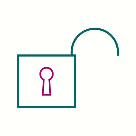 Beautiful Unlocked vector line icon Çizim