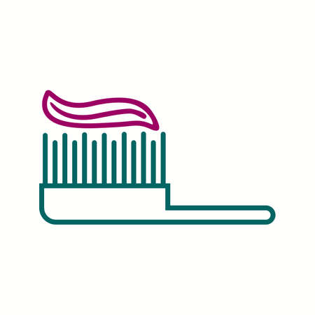 Toothpaste and brush line icon