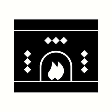 Beautiful fireplace glyph black icon