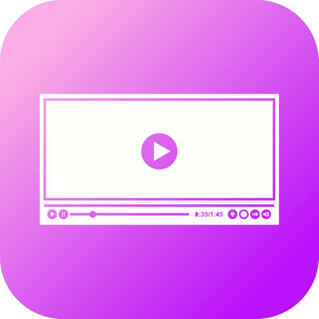 Beautiful Video player Vector Glyph icon 向量圖像