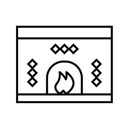 Fireplace Beautiful winter line black icon Illustration
