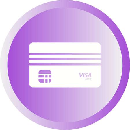 Beautiful Debit Visa Vector Glyph icon