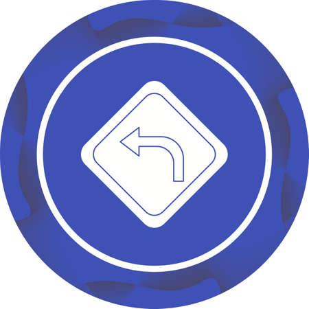 Beautiful Left turn Vector Glyph icon 向量圖像