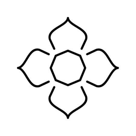 Islamic Star Beautiful Line Black Icon