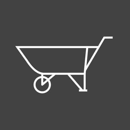 Beautiful wheelbarrow Line Vector Icon