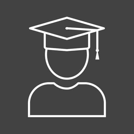 Beautiful Graduate Line Vector Icon Çizim