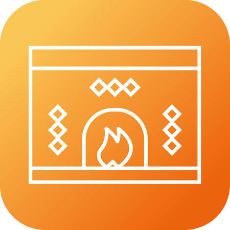 Beautiful Fireplace Line Vector Icon Stock Vector - 136194698