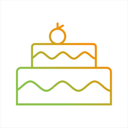 Beautiful Cake Line Vector Icon