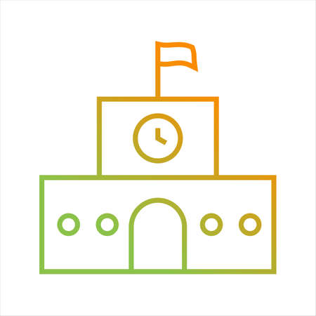 Beautiful School Line Vector Icon
