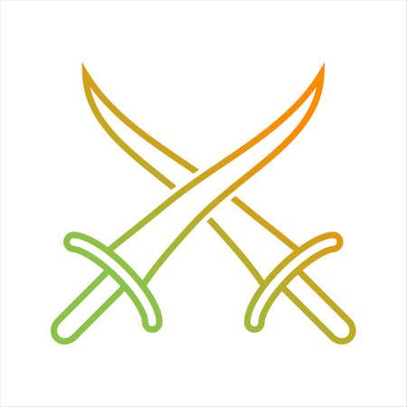 Beautiful Arabian Swords Line Vector Icon