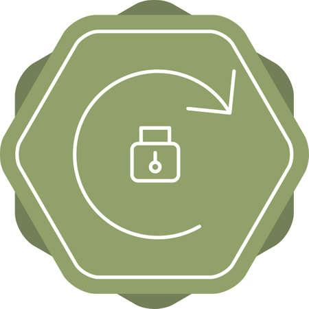 Beautiful Rotation Locked Line Vector Icon Çizim