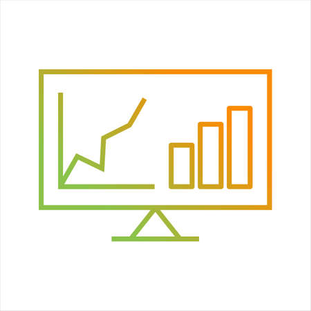 Beautiful Analytics On Screen Line Vector Icon