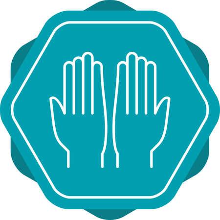 Beautiful Praying Hand Line Vector Icon