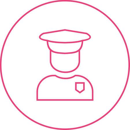 Beautiful Security Guard Line Vector Icon Vektorgrafik