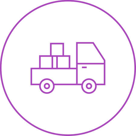 Beautiful Pickup Truck Line Vector Icon Çizim