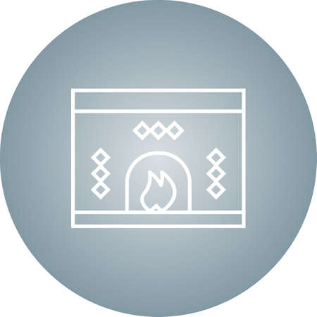 Beautiful Fireplace Line Vector Icon