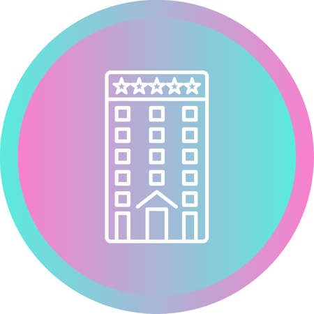 Beautiful Five Star Hotel Line Vector Icon 向量圖像