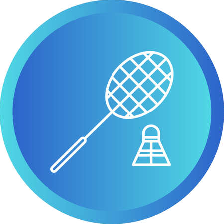 Beautiful Badminton Line Vector Icon Illustration