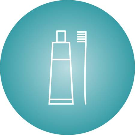 Beautiful Tooth paste And Brush Line Vector Icon