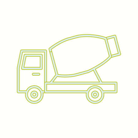 Beautiful Mixer Truck Line Vector Icon Çizim