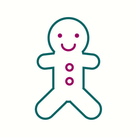 Beautiful Ginger Bread Line Vector Icon  イラスト・ベクター素材