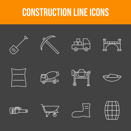 Unique Construction Line Icons Set