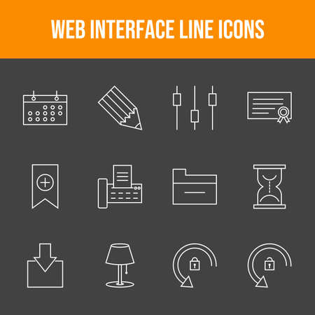 Web Interface 12 Vector Icons in One Set Ilustrace