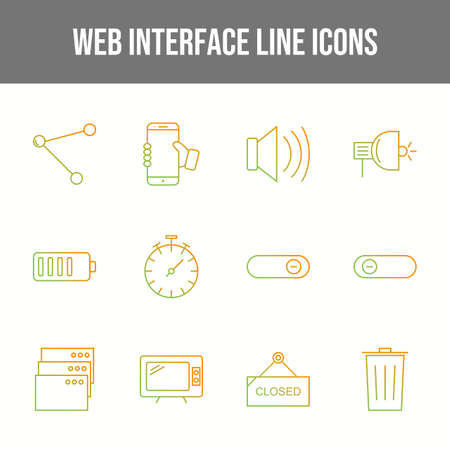Unique Web Interface Line Icons Set Illustration