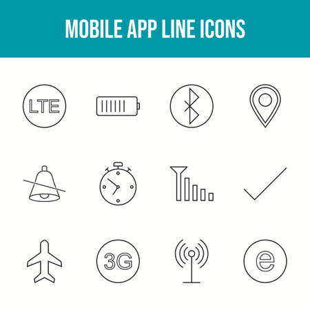 Beautiful Mobile Apps Vector Icons Set