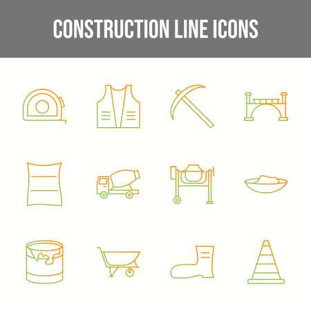 Unique Construction Line Icons Set