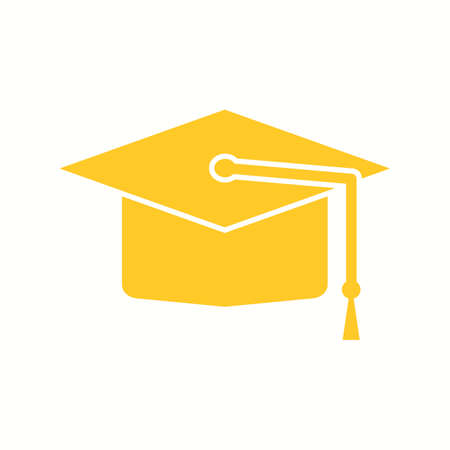 Beautiful Graduation Cap Glyph Vector Icon Çizim