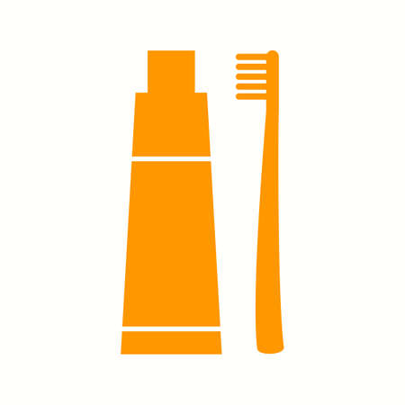 Beautiful Tooth paste And Brush Glyph Vector Icon Ilustrace