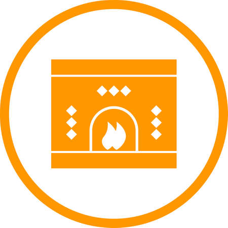 Beautiful Fireplace Glyph Vector Icon