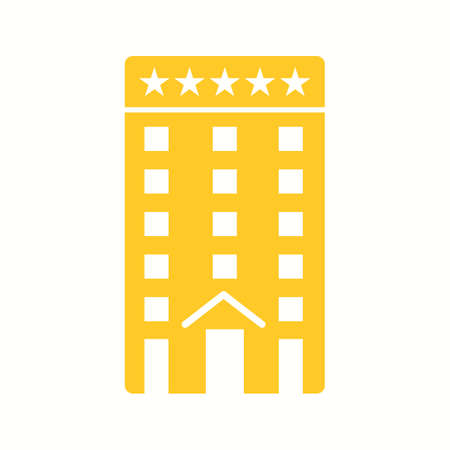 Beautiful Five Star Hotel Glyph Vector Icon