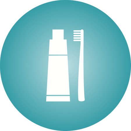 Tooth paste And Brush Glyph  Icon