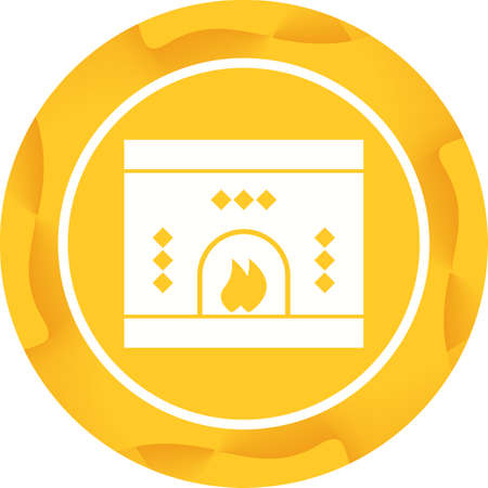 Beautiful Fireplace Glyph Vector Icon Stock Vector - 137751878