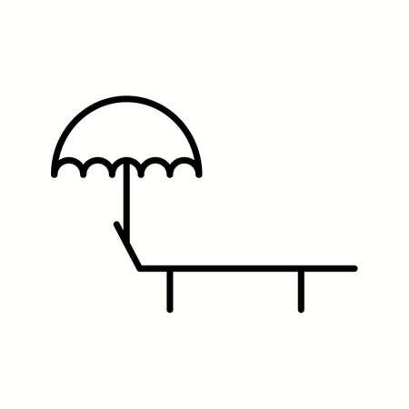 Unique Sunbathing Chair Vector Line Icon Illusztráció