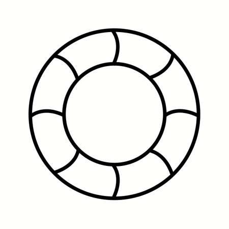 Unique Swimming Tire Vector Line Icon