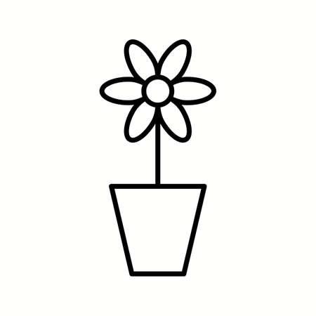 Unique Plant in Pot Vector Line Icon Stock fotó - 137895566