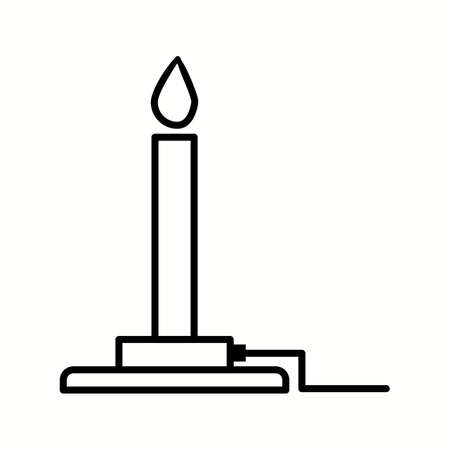 Unique Bunsen Burner Vector Line Icon  イラスト・ベクター素材