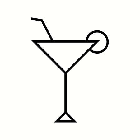 Unique Cocktail Glass Vector Line Icon Reklamní fotografie - 137895597