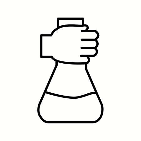 Unique Holding Flask Vector Line Icon
