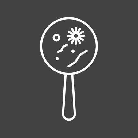 Unique Magnified Bacteria Vector Line Icon