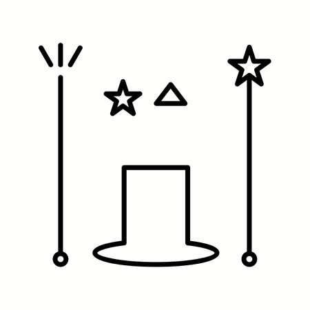 Unique Magician Vector Line Icon