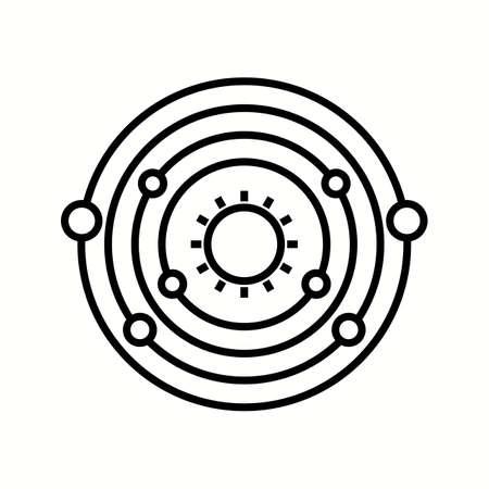 Unique Planet Orbitting Sun Vector Line Icon Reklamní fotografie - 137895862