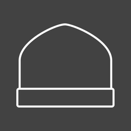 Unique Knitted Cap Vector Line Icon Ilustrace