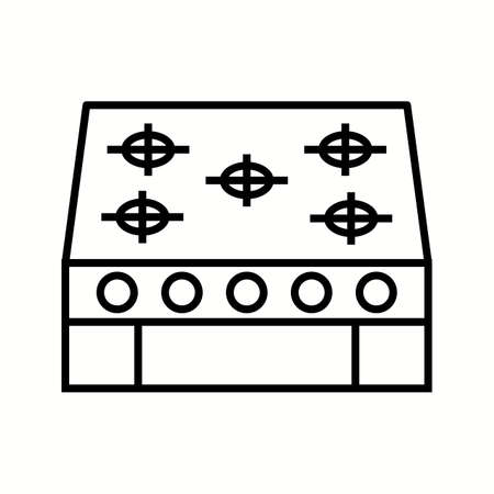 Unique Stove Vector Line Icon