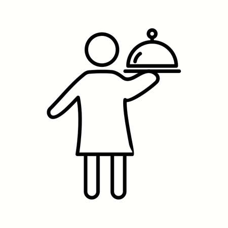 Unique Man Serving Food Vector Line Icon Reklamní fotografie - 137896080