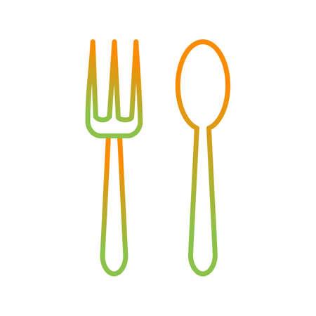 Icona della linea vettoriale di cucchiaio e forchetta unica Vettoriali