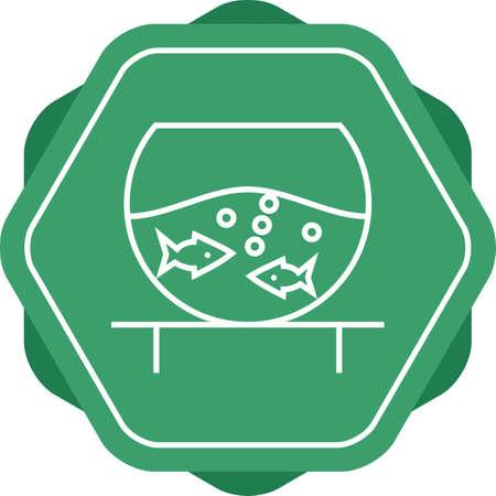 Unique Fish Bowl Vector Line Icon